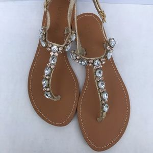 Unisa Gold Jeweled Sandals